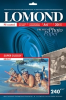 Lomond 1105100 (Super Glossy Bright)-односторонняя Суперглянцевая ярко-белая A4 240g/m, 20 лист.