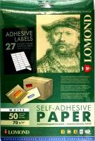 Lomond 2100185 универс.матовая самоклеящаяся деленая бумага 27частей (70х32мм)  A4  70 g/m, 50 лист.