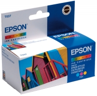 Картридж оригинальный (в технологической упаковке) цветной Еpson T037 color, ресурс 180 стр.