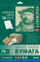 Lomond 2100115 универсальная матовая самокл.белая  бумага для этикеток 16 частей  (105х33мм)  A4  70 g/m, 50 лист.
