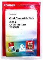 Картридж оригинальный цветной Canon CL-41 Color + бумага GP-501 (A6/100л.)