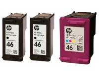 Набор картриджей оригинальный (в технологической упаковке) HP F6T40 (№46),  3 картриджа (2 черных, 1 цветной)