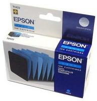 Картридж оригинальный (в технологической упаковке) голубой (cyan) Epson T0422, ресурс 420 стр.