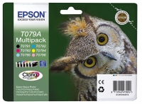 Комплект картриджей оригинальный Epson T079A / C13T079A4A10 (Bl, C, M, Y, LC, LM), объем 6 х 11,1 мл.
