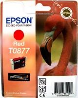 Картридж оригинальный (в технологической упаковке) красный (red) Epson T0877, ресурс 915 стр.