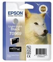 Картридж оригинальный (в технологической упаковке) светло-серый (light light black) Epson T0969, объем 11,4 мл.